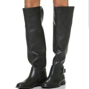 Madewell the Conor Black Leather Riding Boots